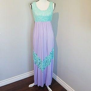 NWOT | Lace | Purple and Aqua | Maxi | Dress